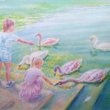«Девочки и лебеди» 40 × 28см