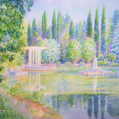 «Беседка у пруда» 50,5 × 39 см