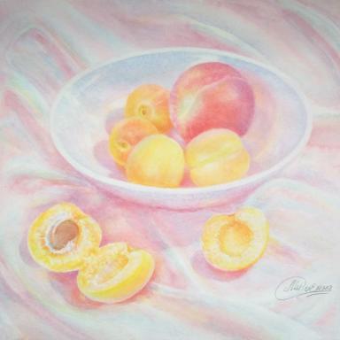 «Персик и абрикоски» бумага, акварель 30×29.5