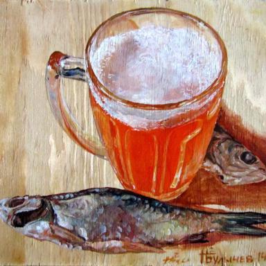 Из серии Рыбка к пиву, дерево, масло, 23 х 25 см