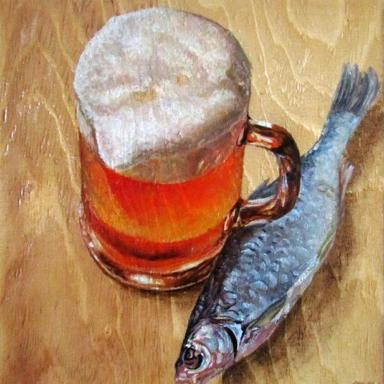 Из серии Рыбка к пиву. Дерево, масло, 28 х 24 см.