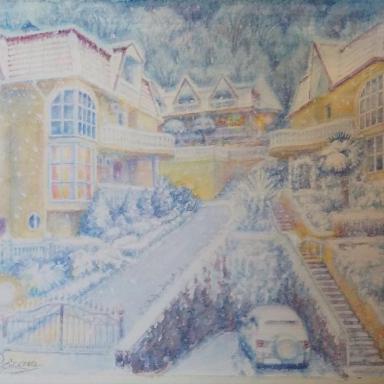 «Прошлогодний снег» бумага, акварель  36 × 27,5 см