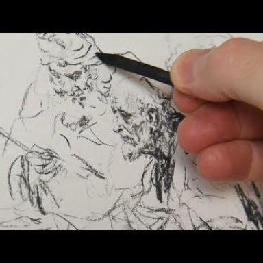 Рисунок углём. Процесс работы над композицией. Часть 1
