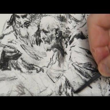 Рисунок углём. Процесс работы над композицией. Часть 2
