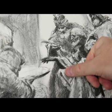 Рисунок углём. Процесс работы над композицией. Часть 3