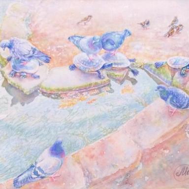 «Голуби и черепахи» 26 × 38 см